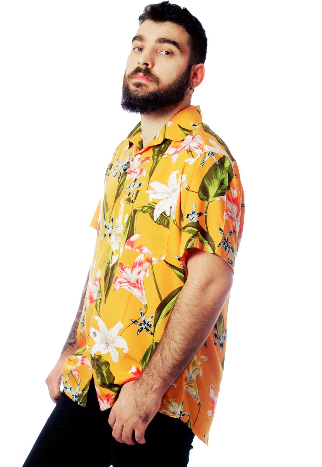 Camisa Estampada Floral ElephunK Unissex Florida Amarela