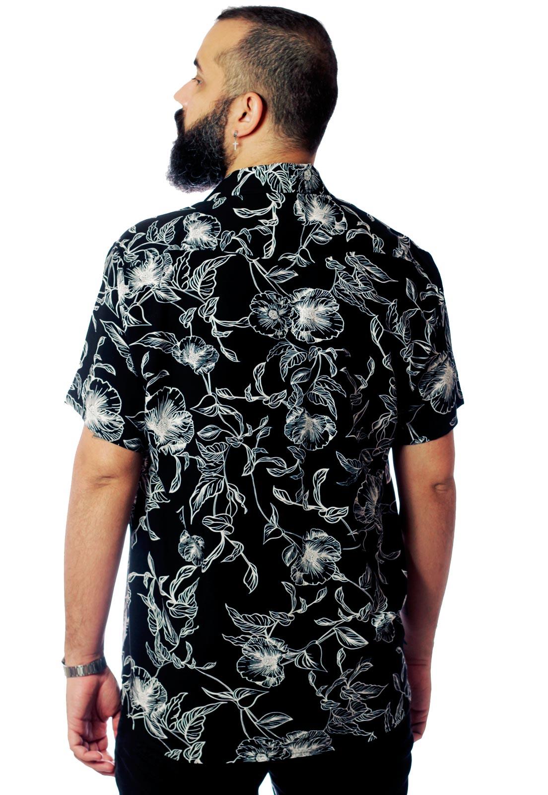 Camisa Estampada Floral ElephunK Unissex Grace Preta