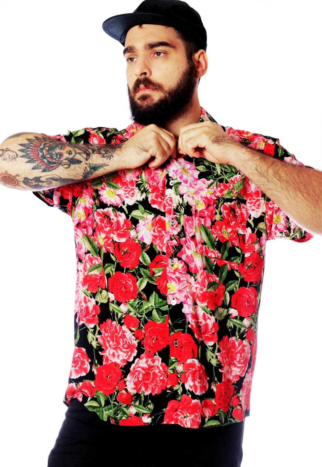 Camisa Estampada Floral Fundo Preto ElephunK Unissex Vermelha