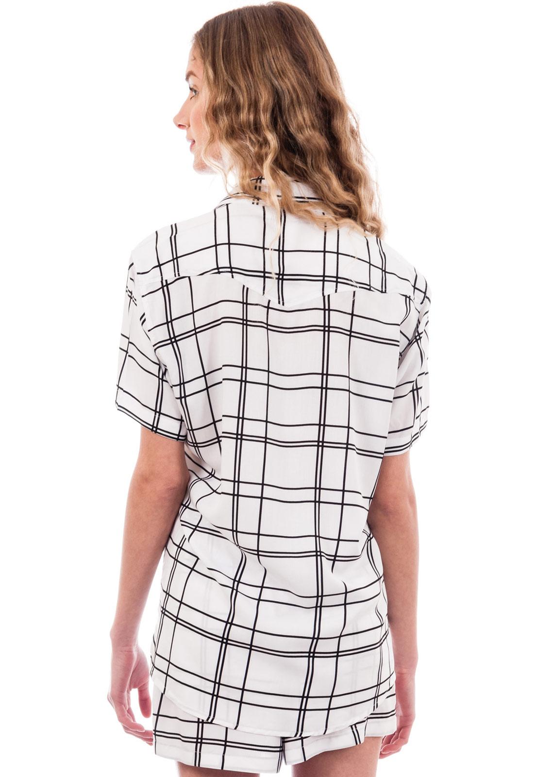 Camisa Estampada Minimalismo Listras Listrada ElephunK Branca