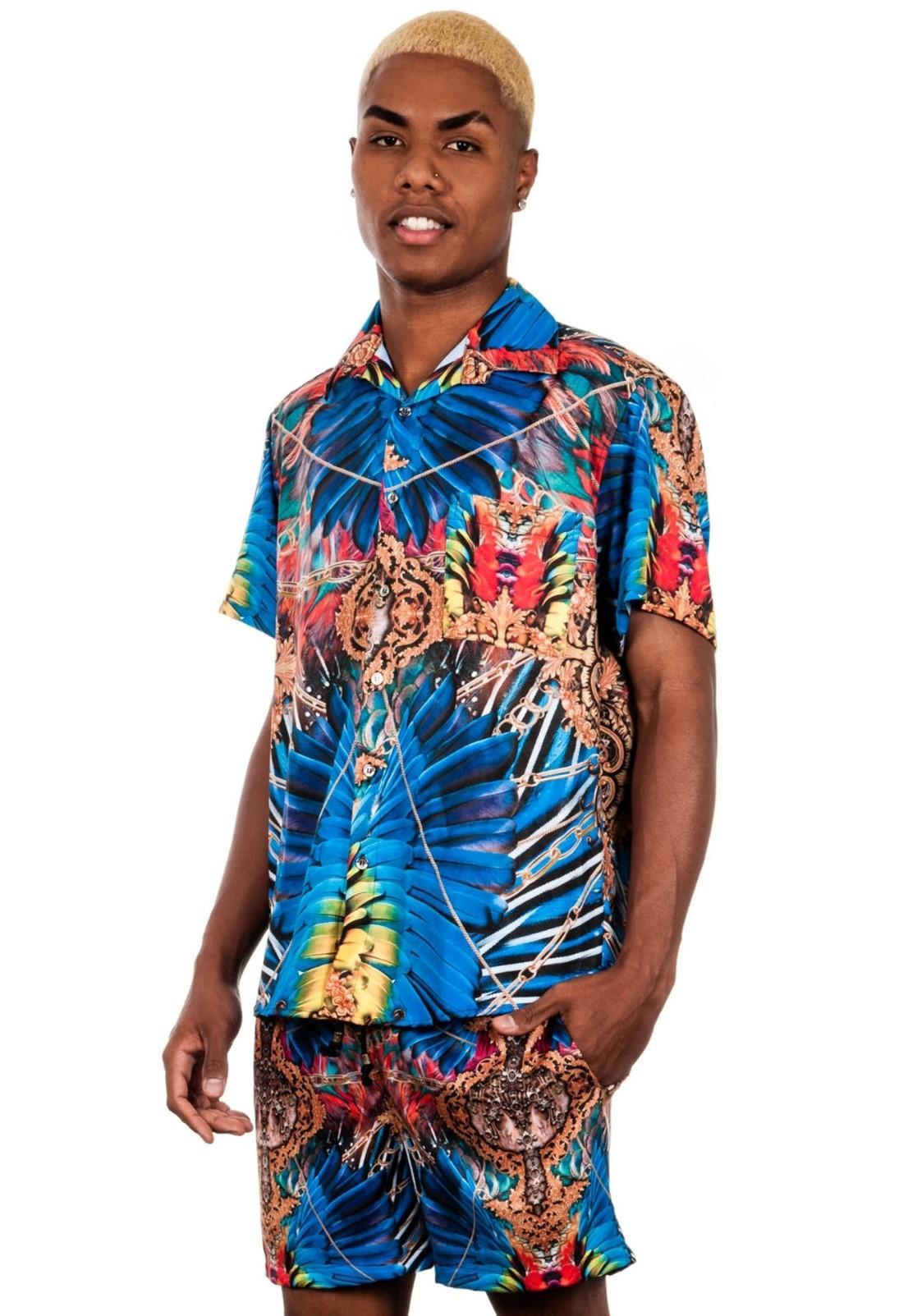 Camisa Estampada Sem Gênero ElephunK Araracanga Azul