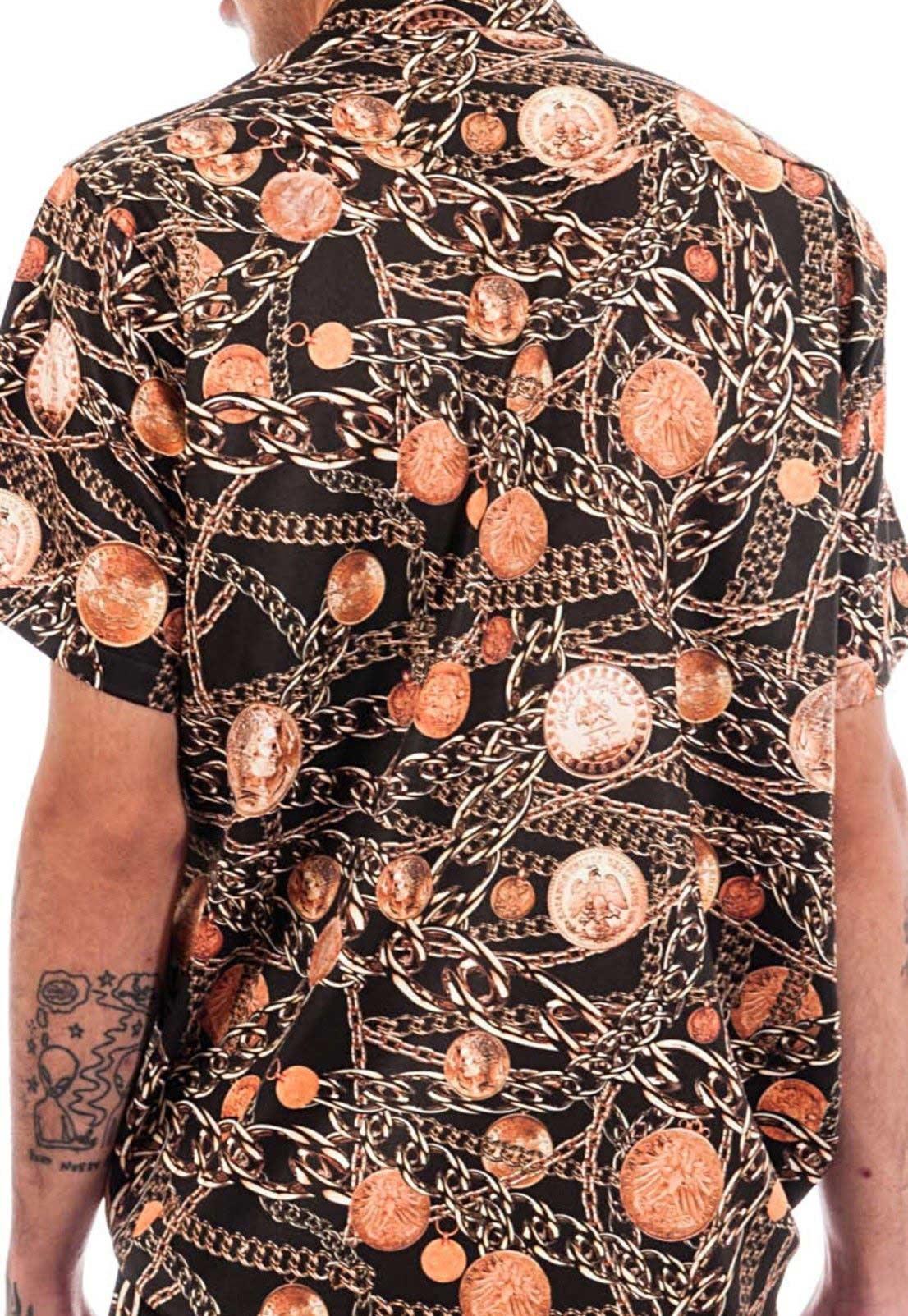 Camisa Estampada Sem Gênero ElephunK Correntes Ouro Velho Preta