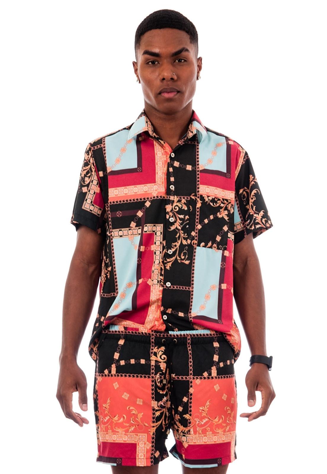 Camisa Estampada Sem Gênero ElephunK Lenço Barroco Preto