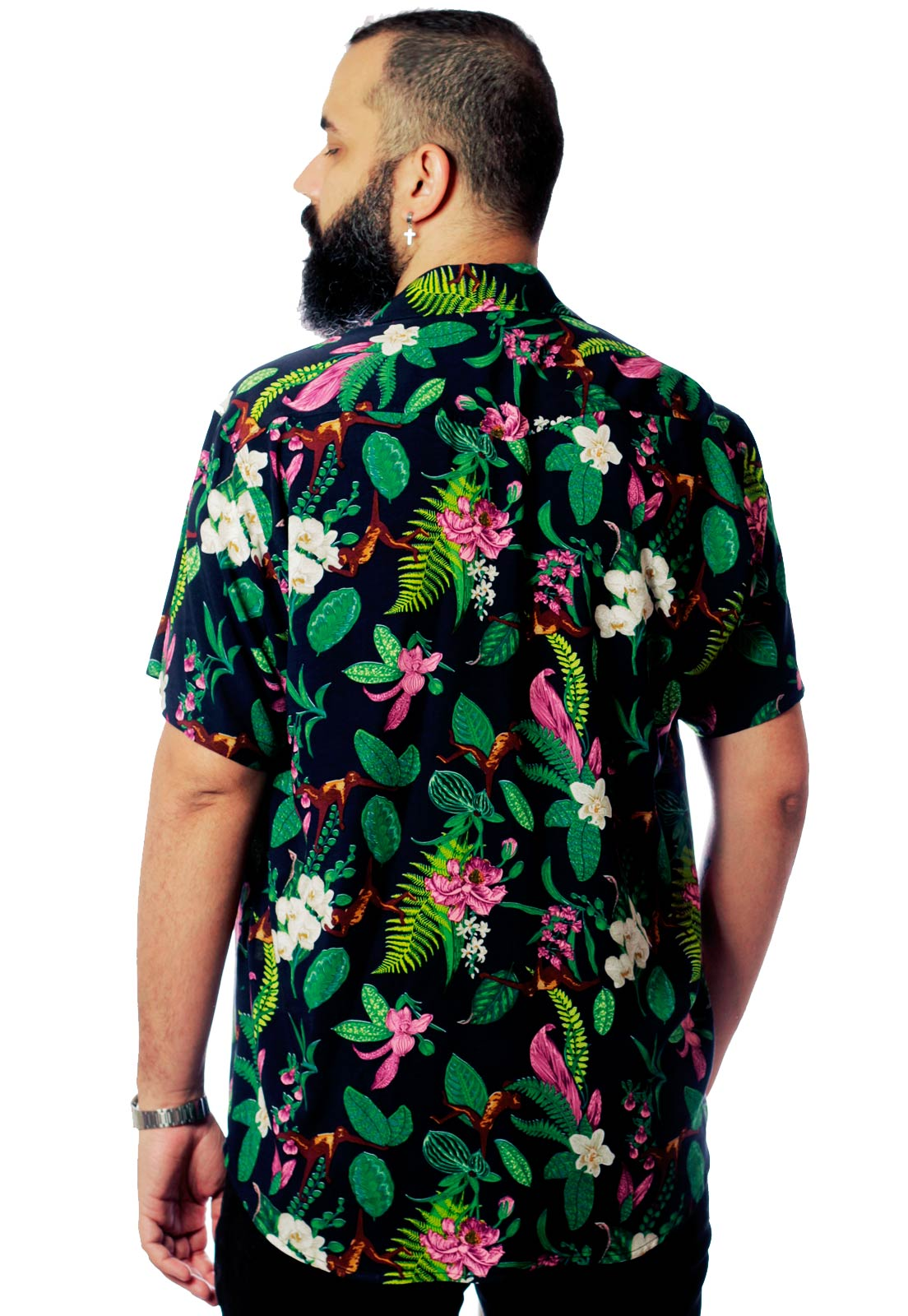Camisa Estampada Tropical ElephunK Unissex Monkey Business Verde