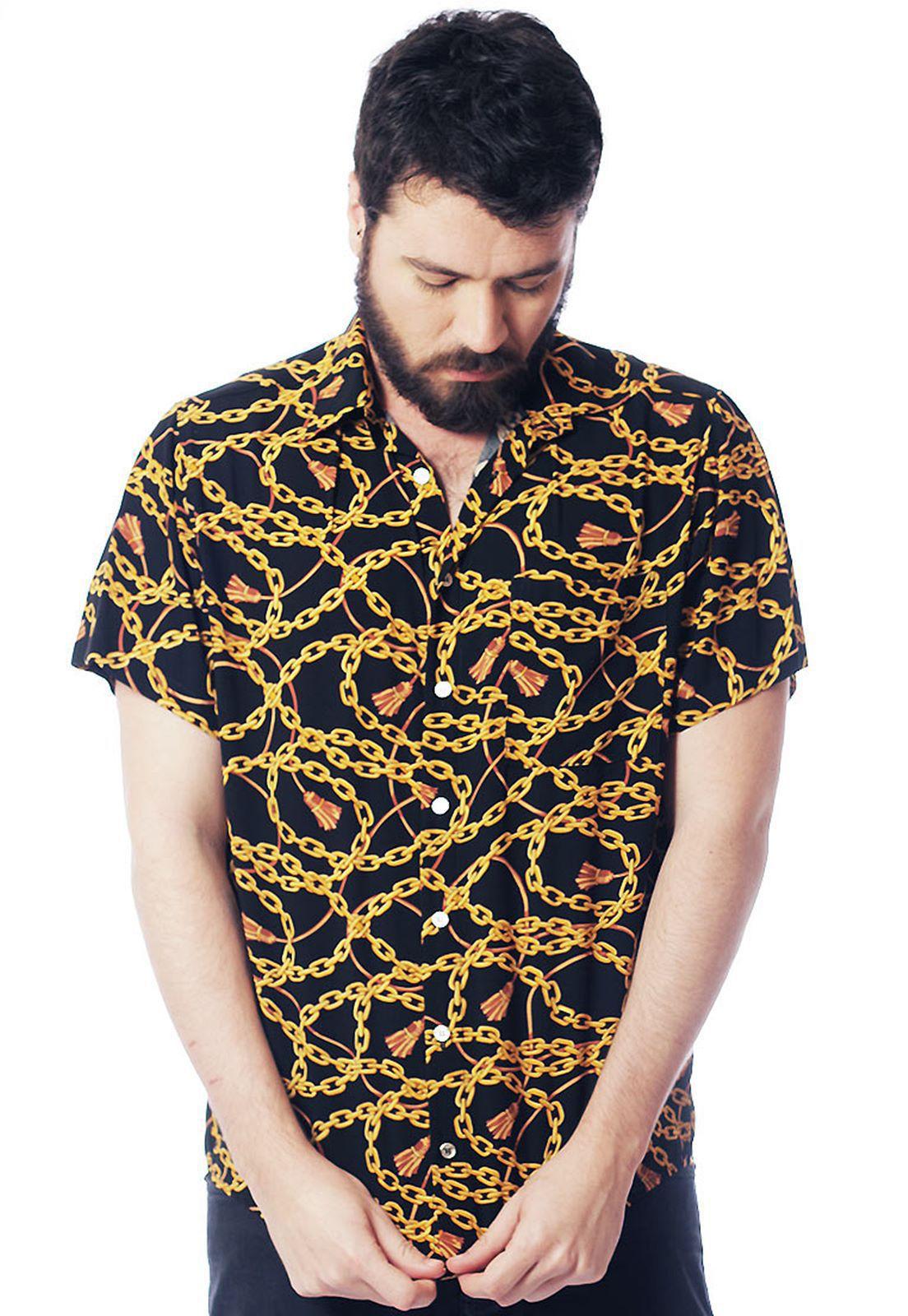 Camisa Estampada ElephunK Chains Preta