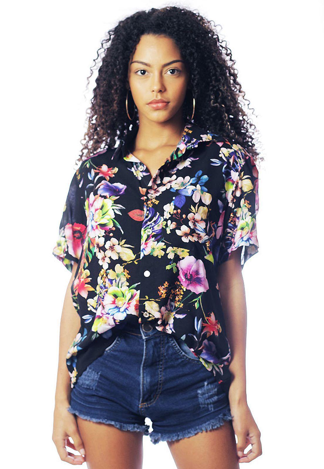 Camisa Floral Estampada ElephunK Unissex Maddri Preta