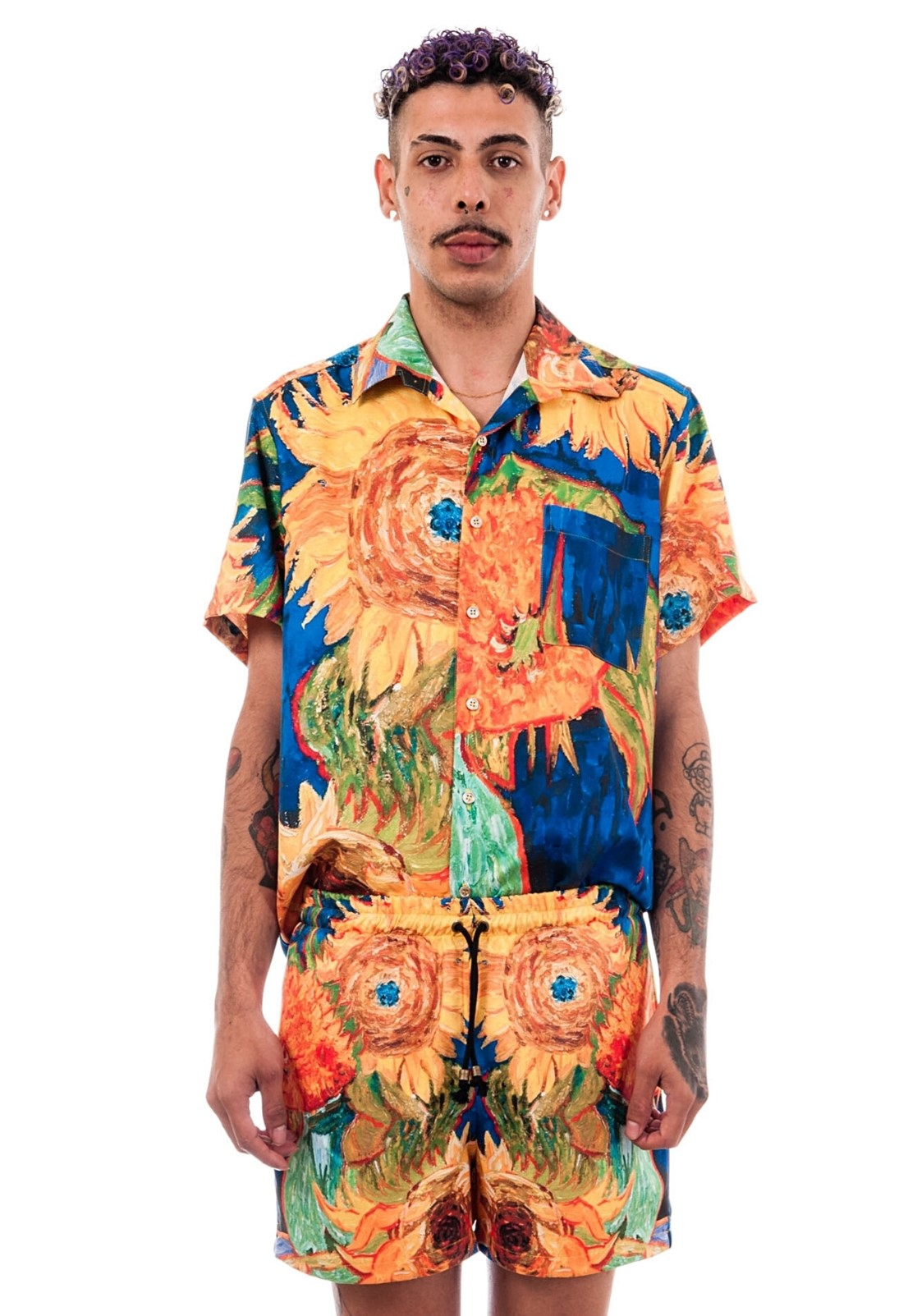 Camisa Estampada Van Gogh Sem Gênero ElephunK Girassóis Laranja
