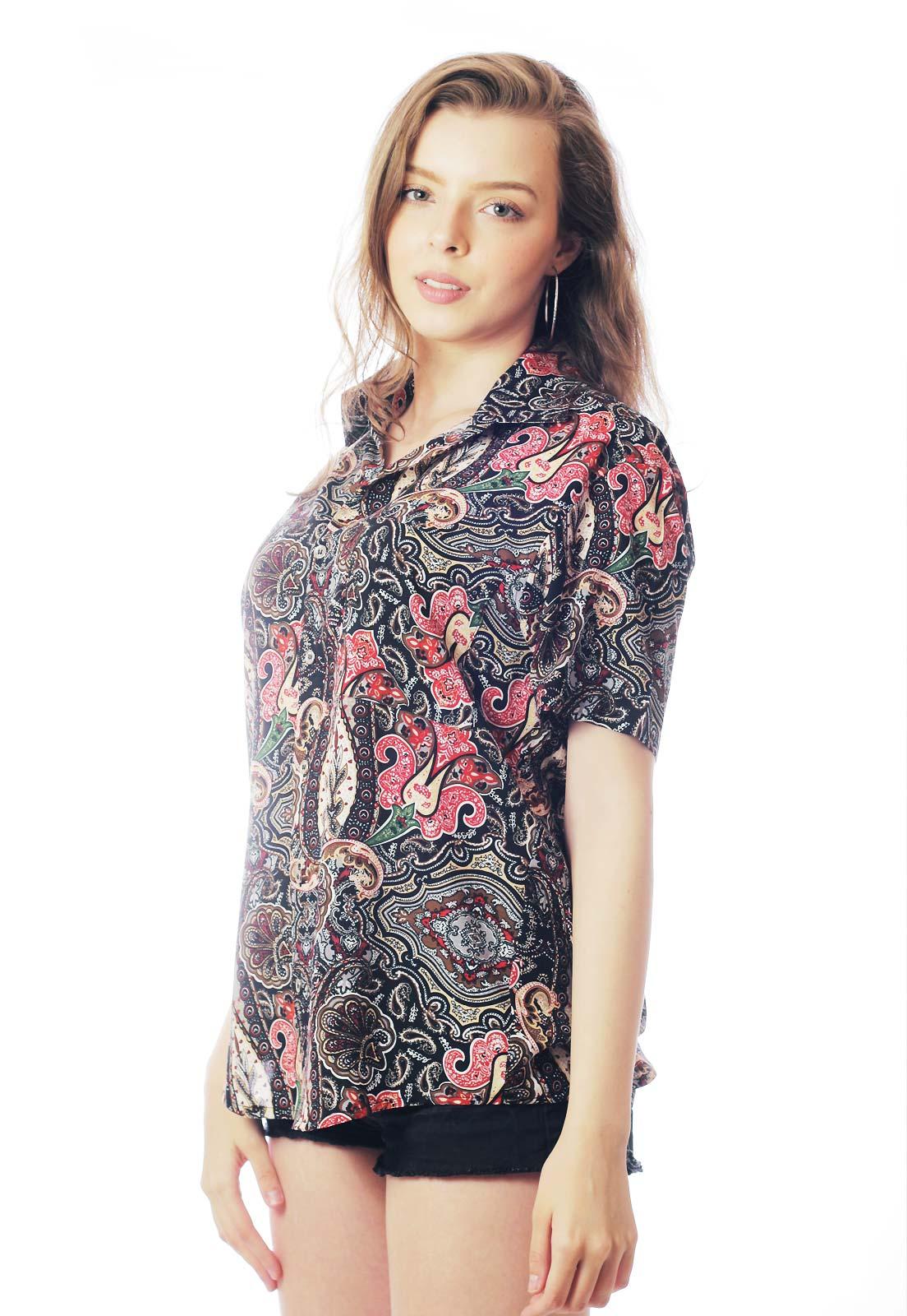Camisa Étnica Estampada ElephunK Unissex Shenzhen Cinza