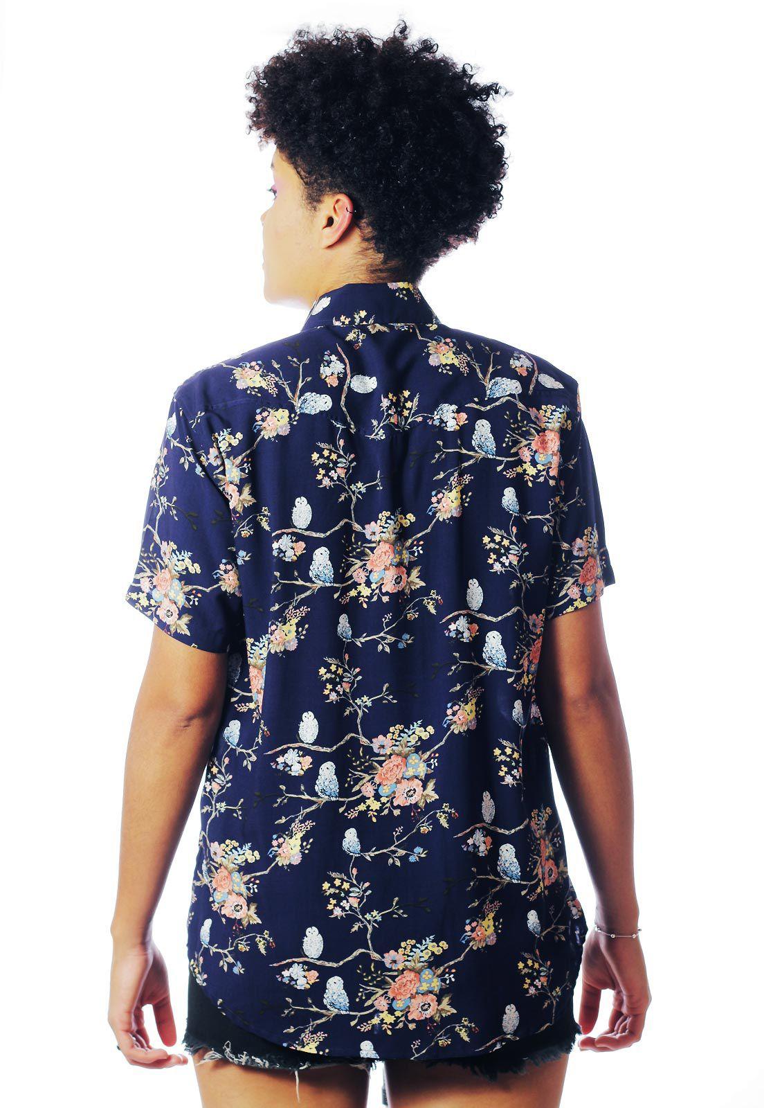 Camisa Floral Estampada ElephunK Corujas Cojurinhas Azul Marinho