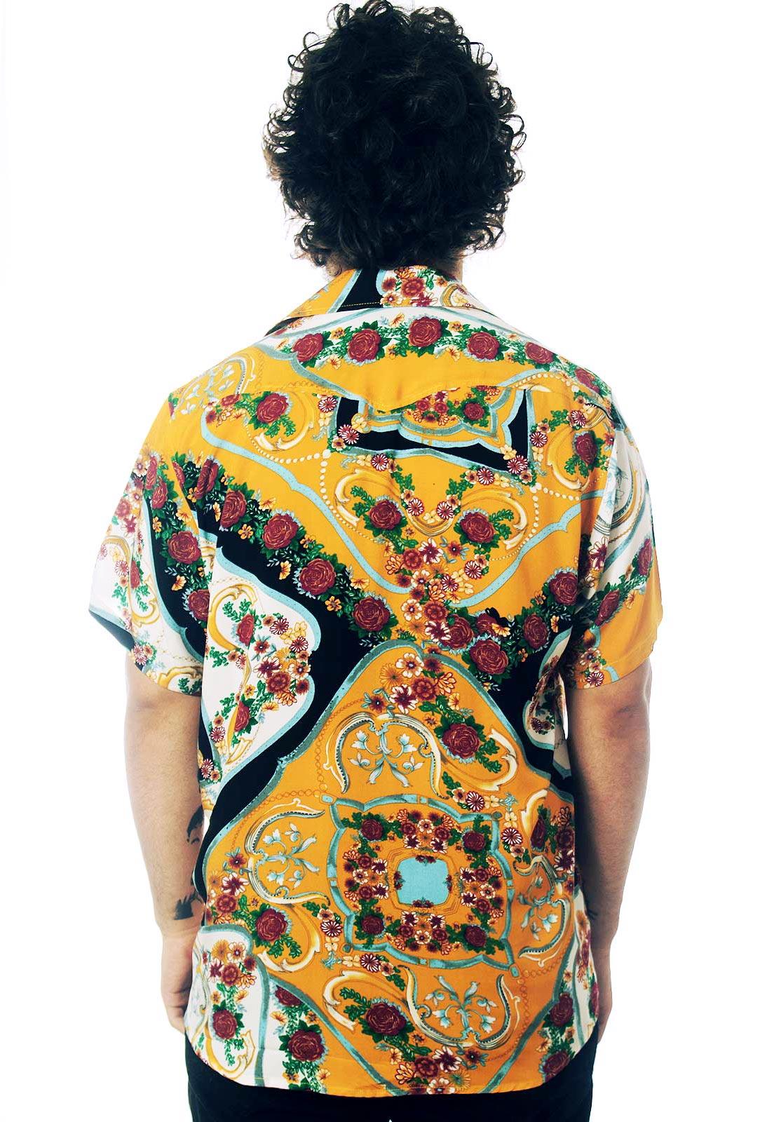 Camisa Floral Estampada ElephunK Madalena Novela Amarela