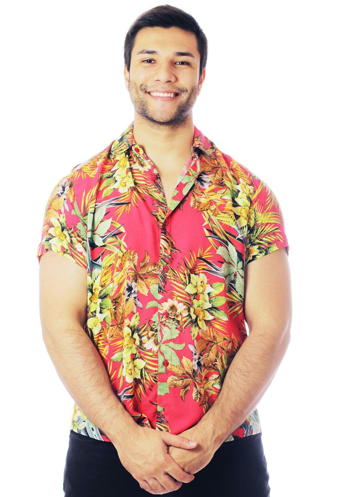 Camisa Floral Estampada ElephunK Maui Vermelha