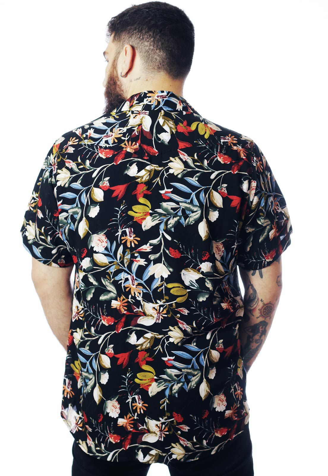 Camisa Floral Estampada ElephunK Mistério Preta
