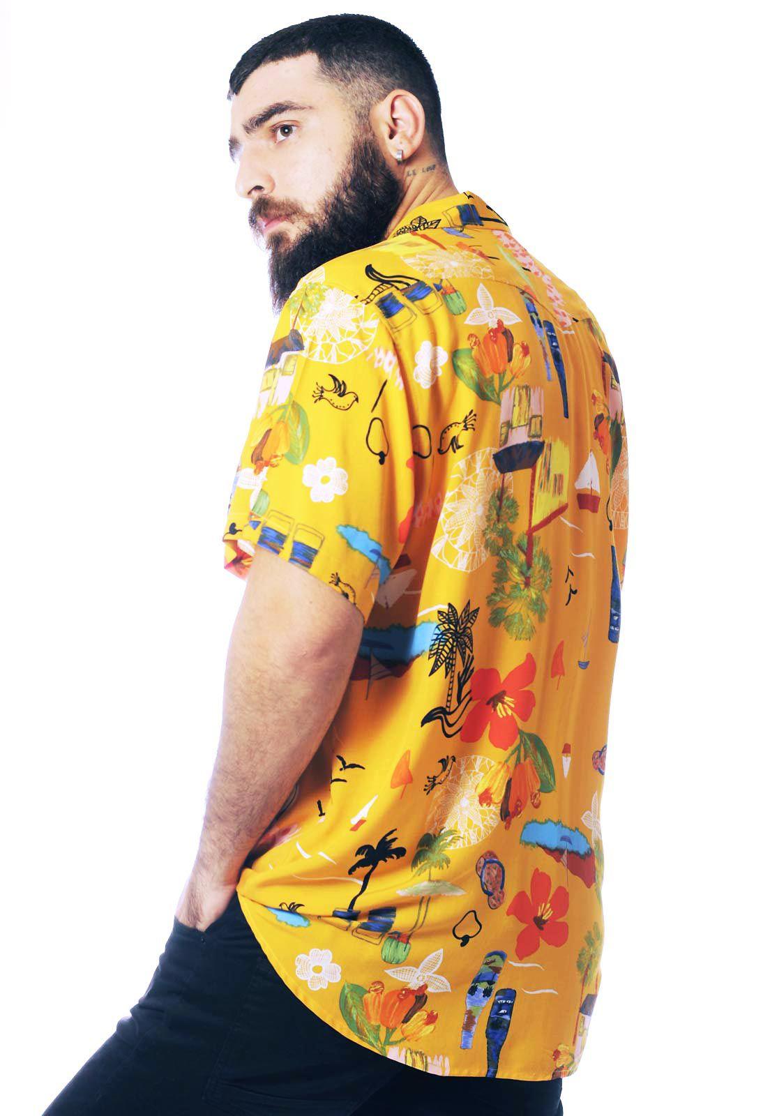Camisa Floral Estampada ElephunK Nordeste Amarela