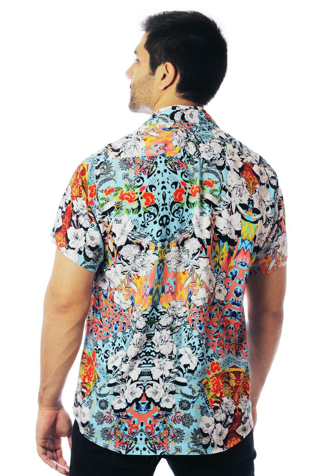 Camisa Floral Estampada ElephunK Unissex Amsterdam Azul Claro