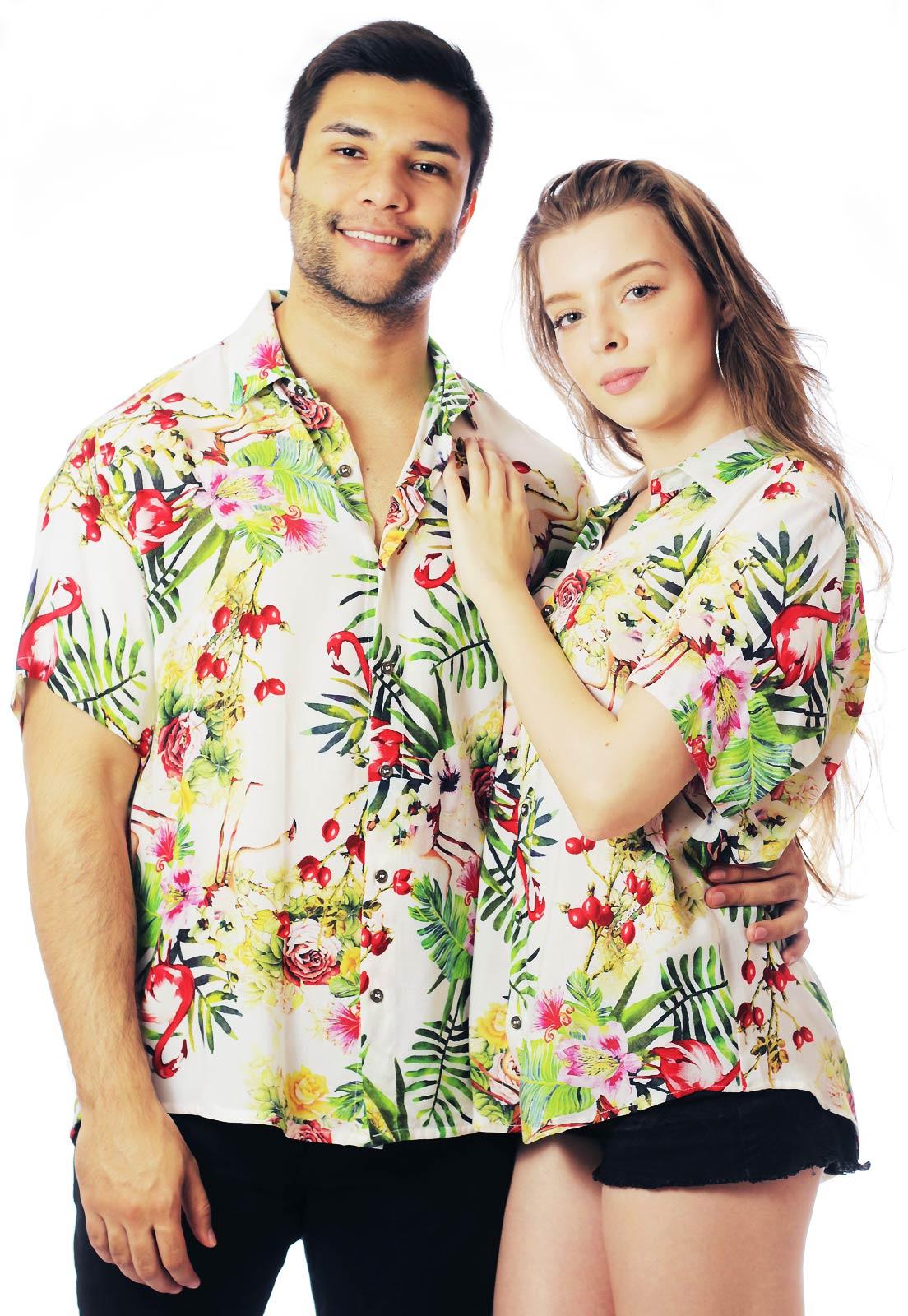 Camisa Floral Estampada ElephunK Unissex Flamingos Branca