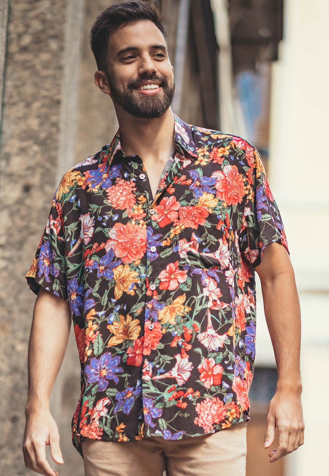 Camisa Floral Estampada ElephunK Unissex Holanda Salmão