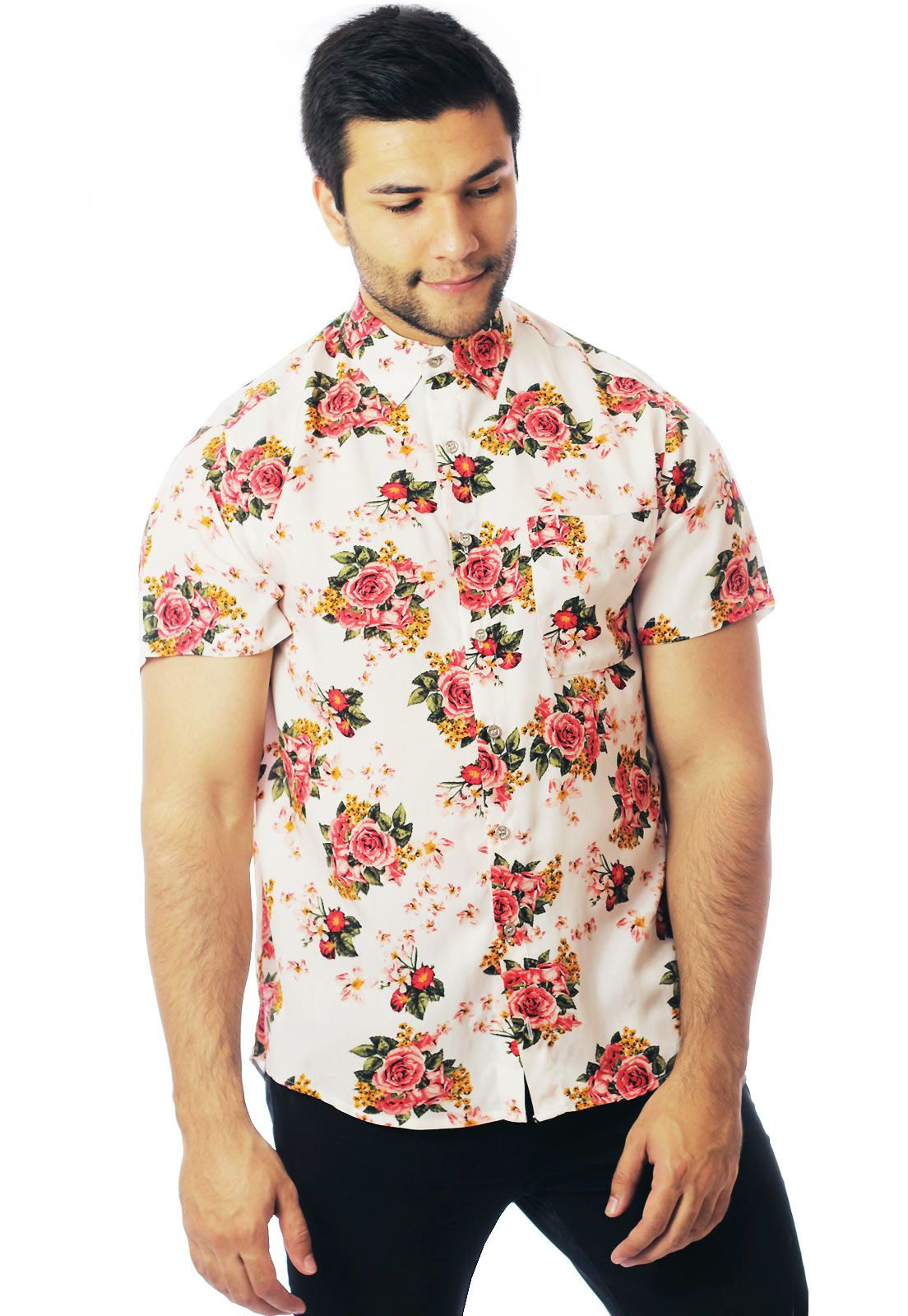 Camisa Floral Estampada ElephunK Unissex Lisboa Branca