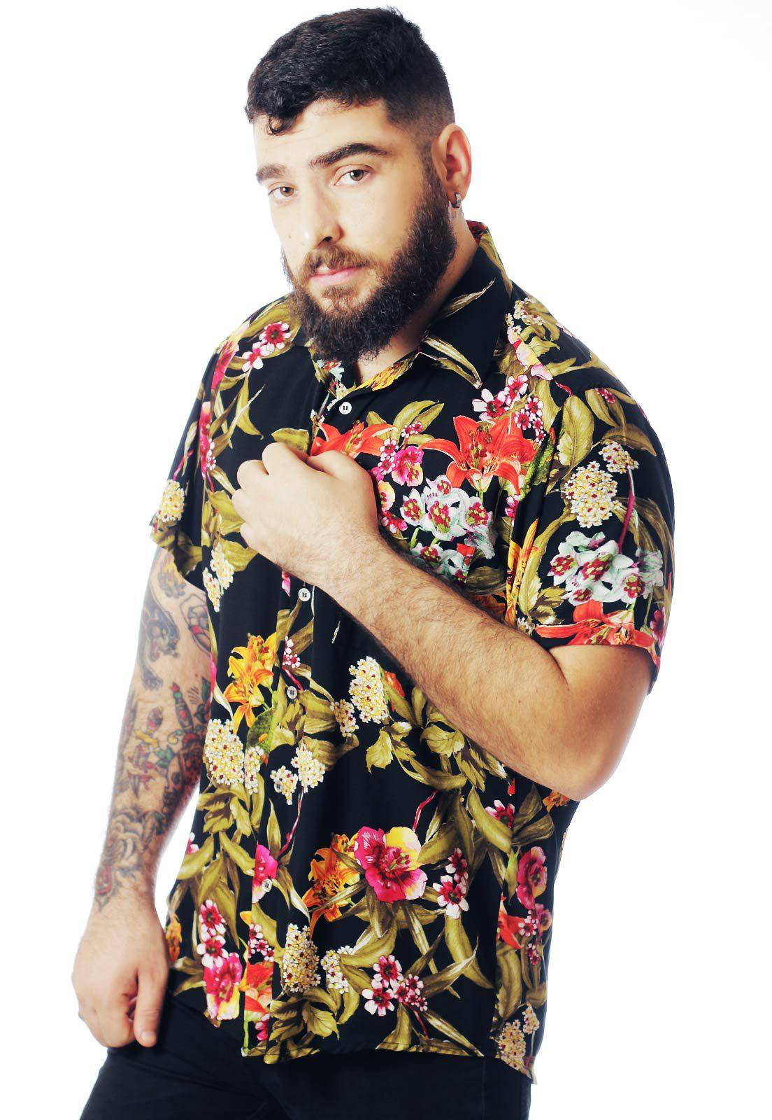 Camisa Floral Estampada ElephunK West N' Black Preta