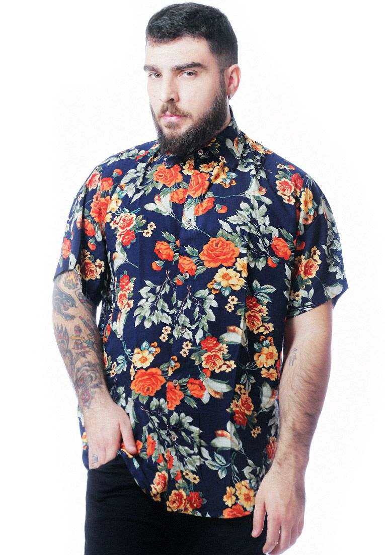 CAMISA FLORAL ESTAMPADA UNISSEX BLOOD ORANGE