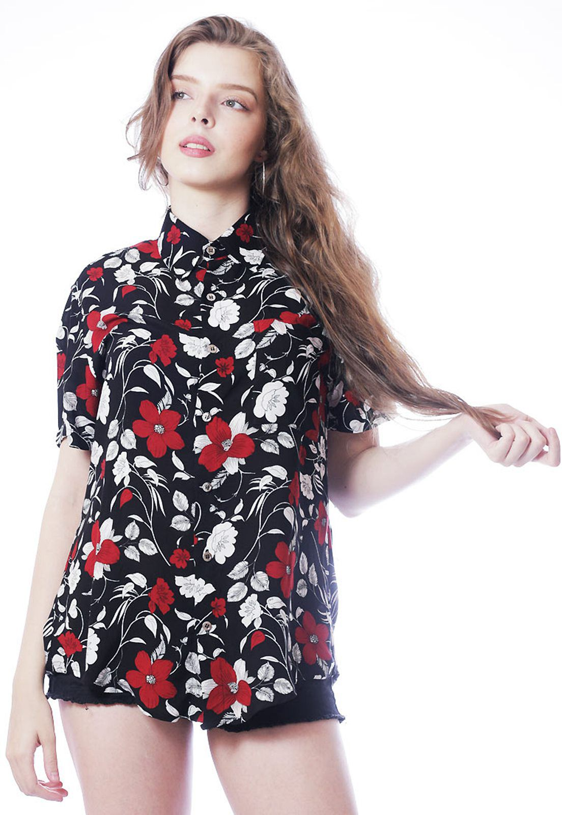 Camisa Floral Estampada ElephunK Unissex Dark Flowers Preta
