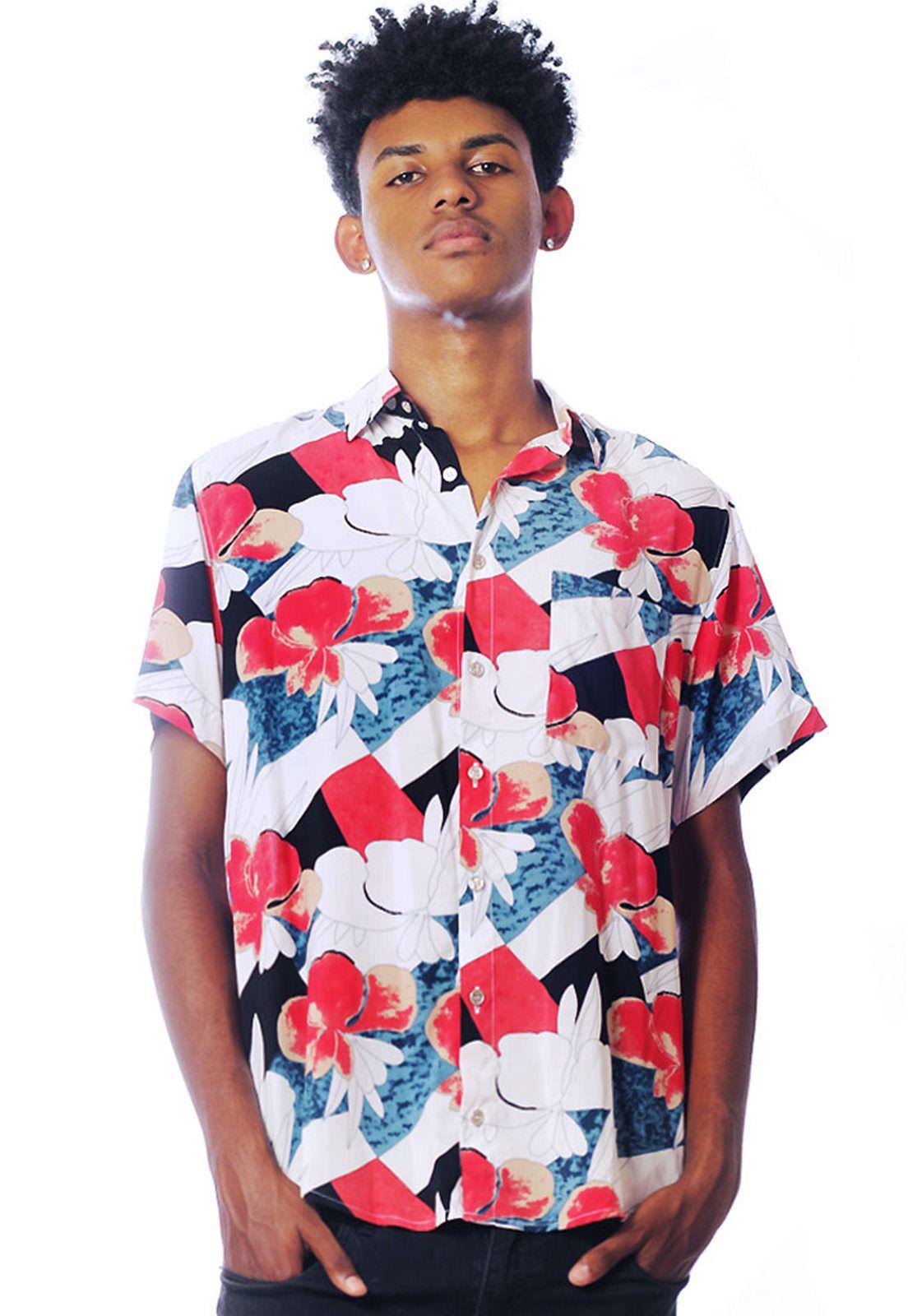 Camisa Floral Estampada ElephunK Unissex Hallerbos Vermelha