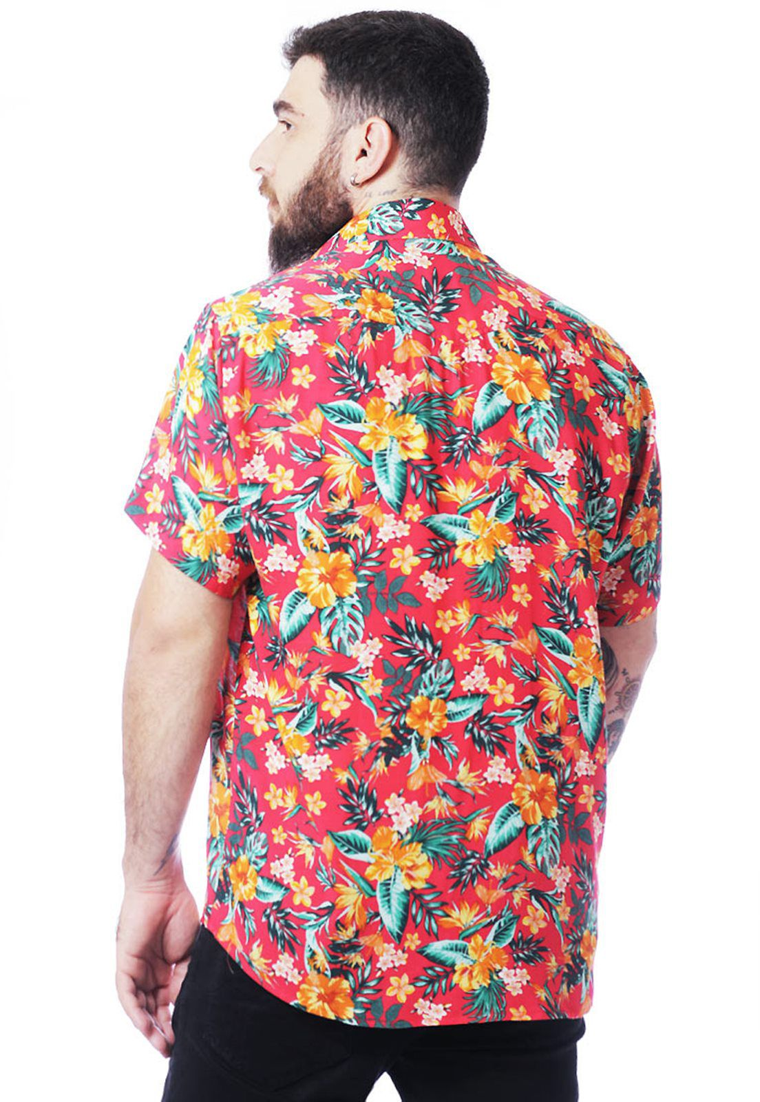 Camisa Floral Estampada ElephunK Unissex Hibiscos Laranja