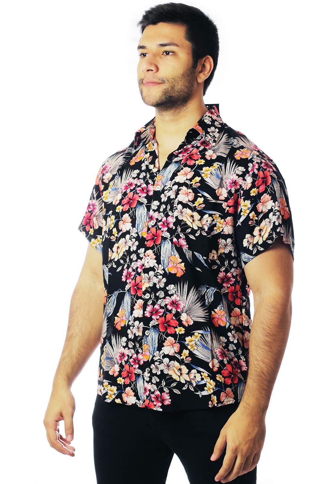Camisa Floral Estampada Unissex Lotus Preta