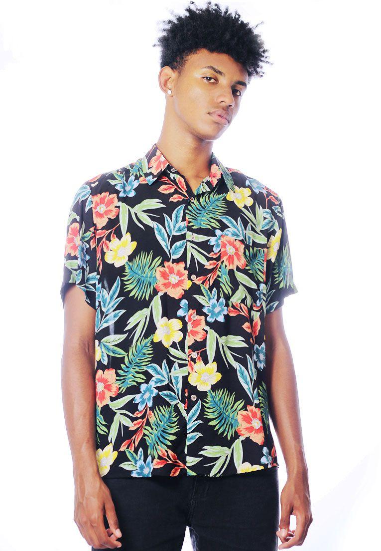 Camisa Floral Estampada ElephunK Unissex Otzarreta Verde
