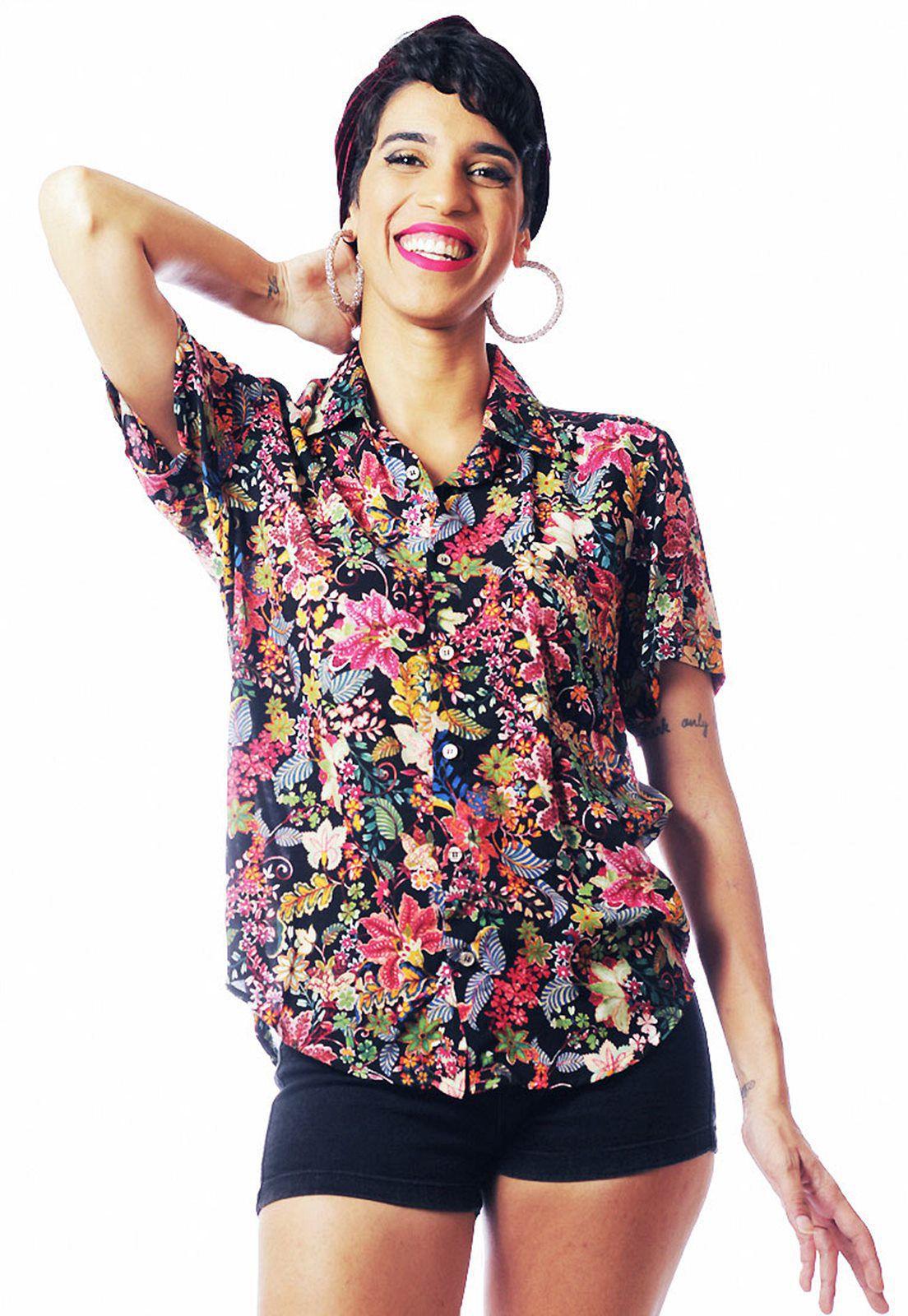 Camisa Floral Estampada ElephunK Unissex Sacramento Púrpura