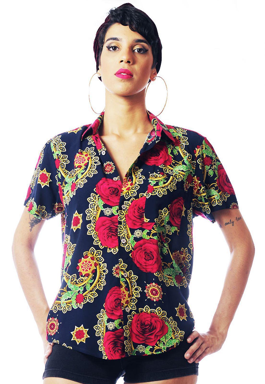 Camisa Floral Estampada ElephunK Unissex Valência Vermelha
