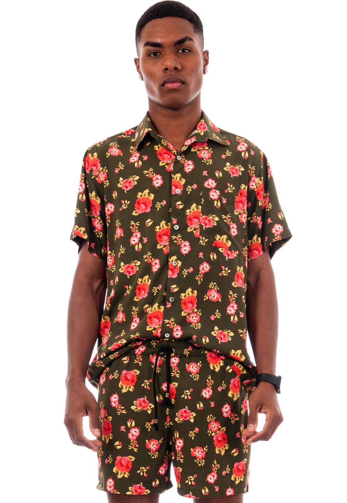 Camisa Floral Florida Estampada Roma Lácio ElephunK Verde