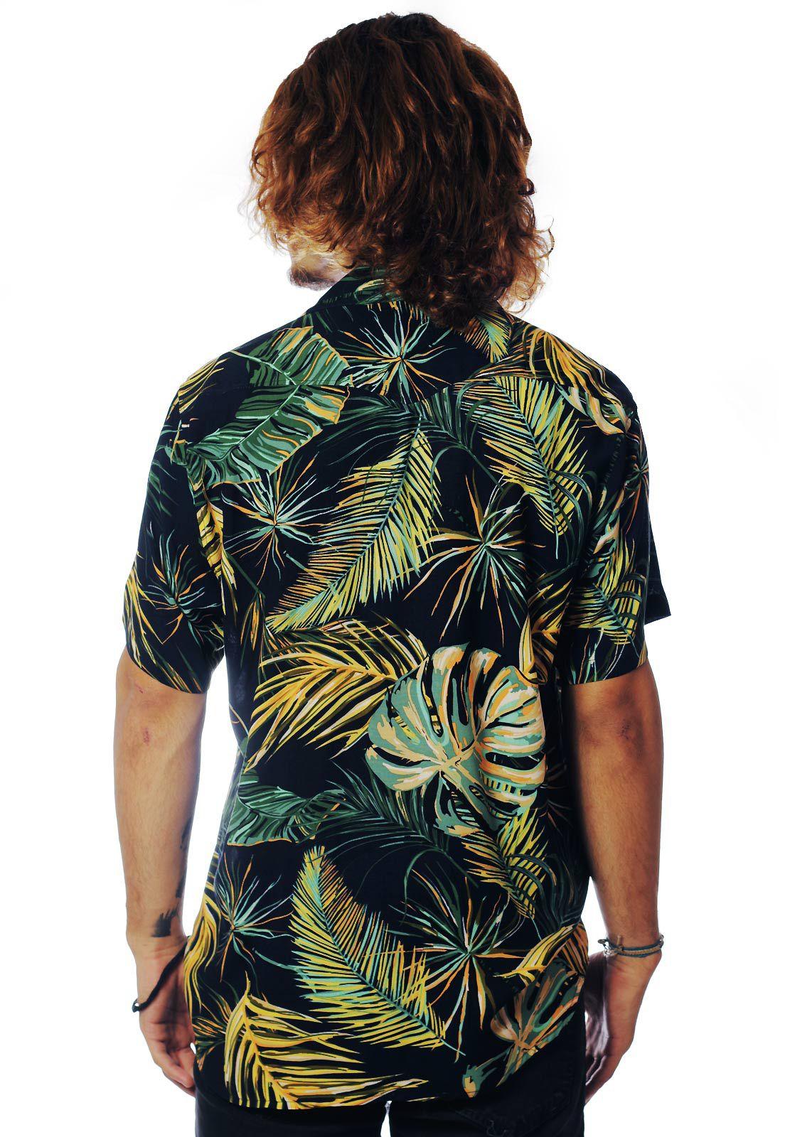 Camisa Folhagens Estampada ElephunK Amazônica Azul