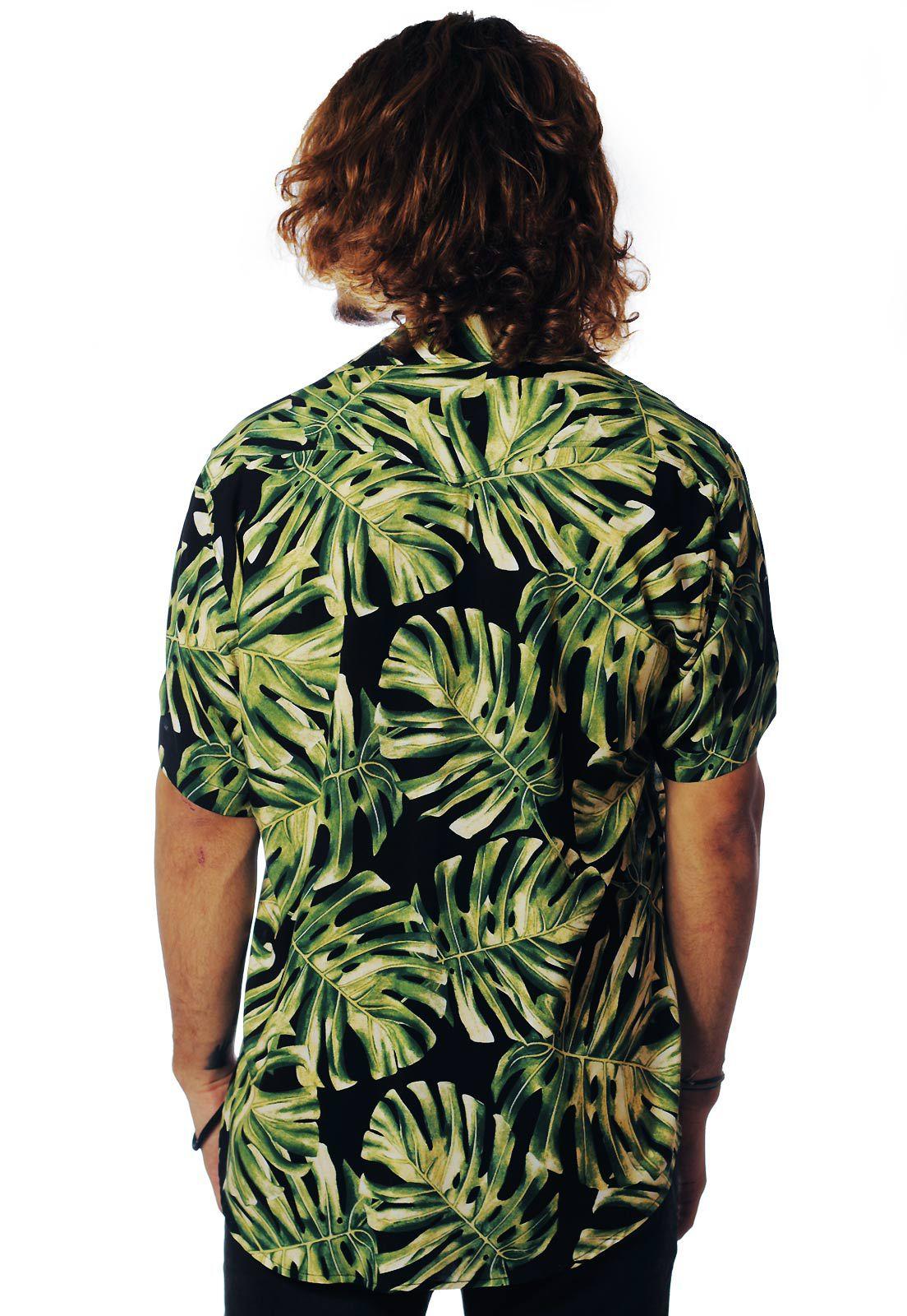 Camisa Folhagens Estampada ElephunK Costela de Adão Verde