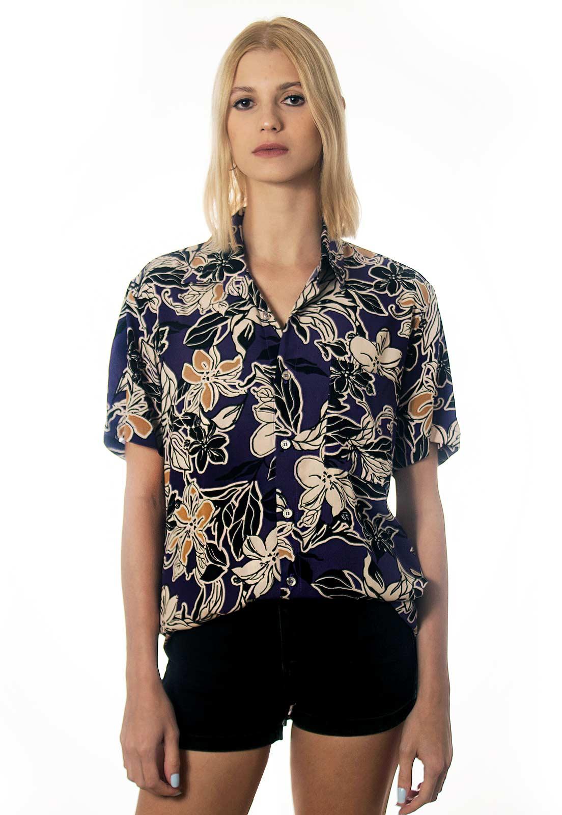 Camisa Folhagens Estampada ElephunK Noronha Roxa