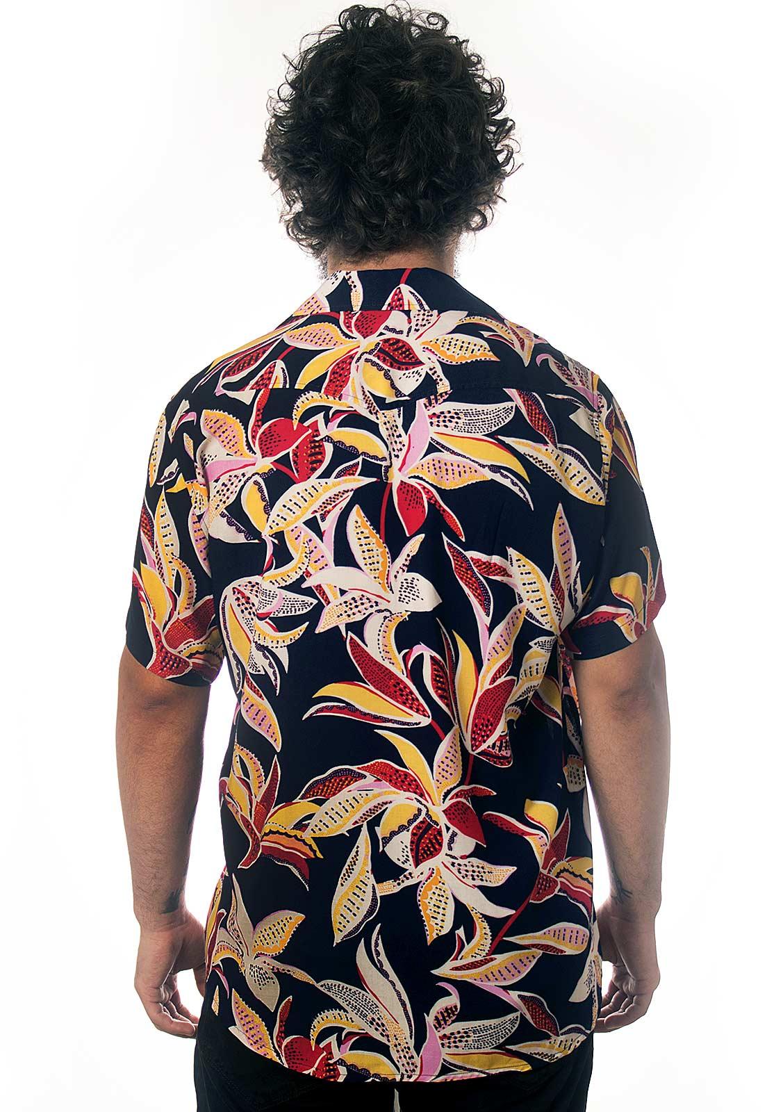 Camisa Folhagens Estampada Floral ElephunK Boipeba Azul Escuro