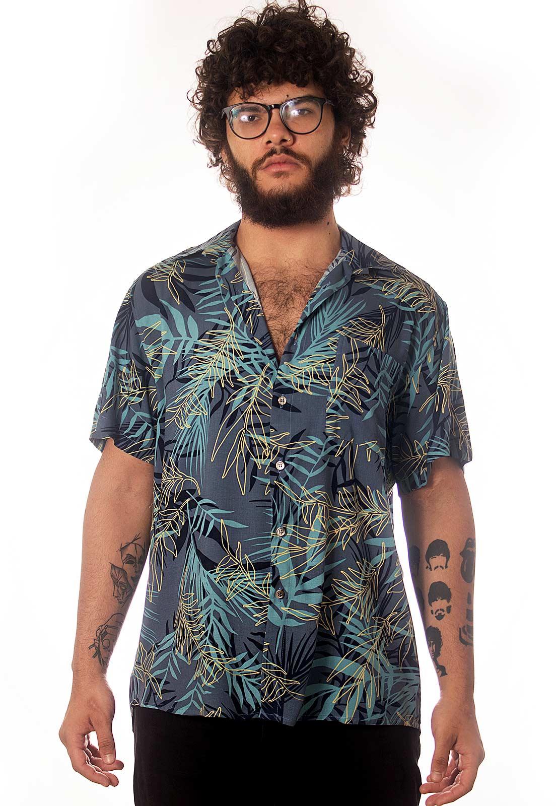 Camisa Folhagens Estampada Floral ElephunK Cachoeira Azul