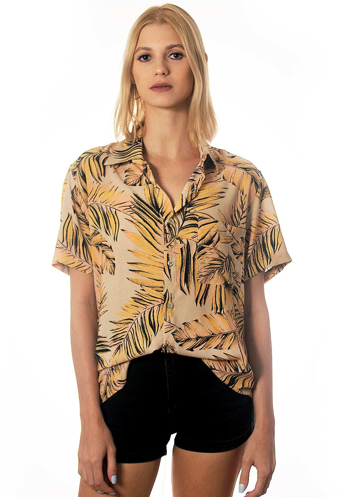 Camisa Folhagens Estampada Floral ElephunK Itacaré Creme