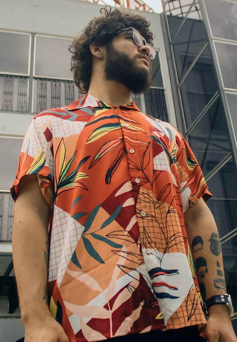 Camisa Folhagens Estampada Floral ElephunK Paulista Vermelha