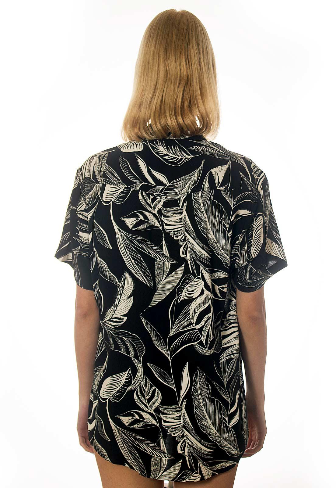 Camisa Folhagens Estampada Floral ElephunK Triunfo Preta