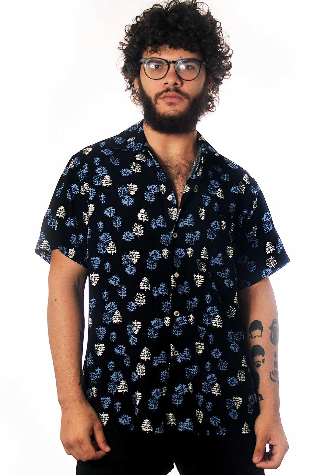 Camisa Folhagens Estampada Pinheiros Hipster ElephunK Preta
