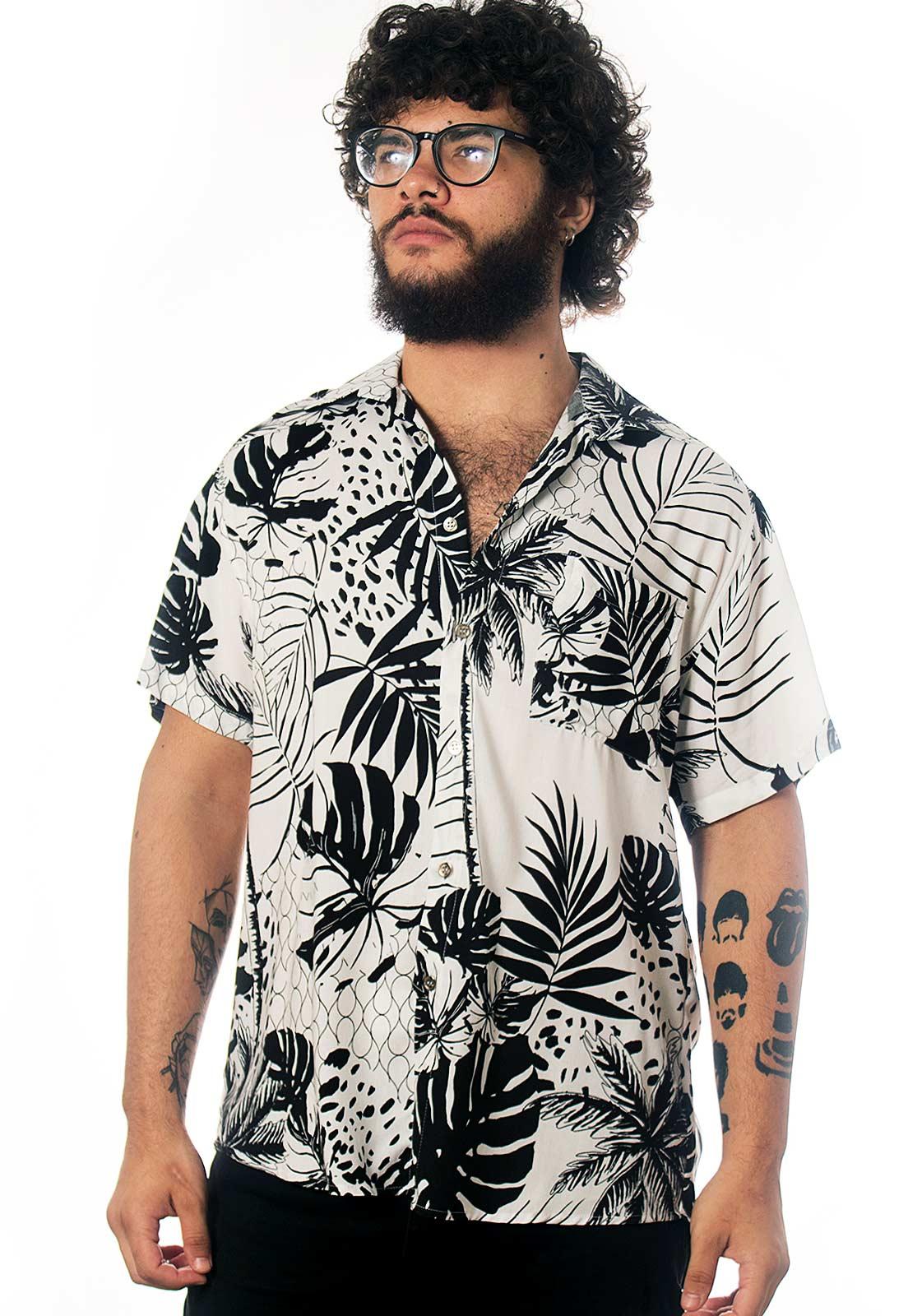 Camisa Folhagens Estampada Recife Mar ElephunK Branca