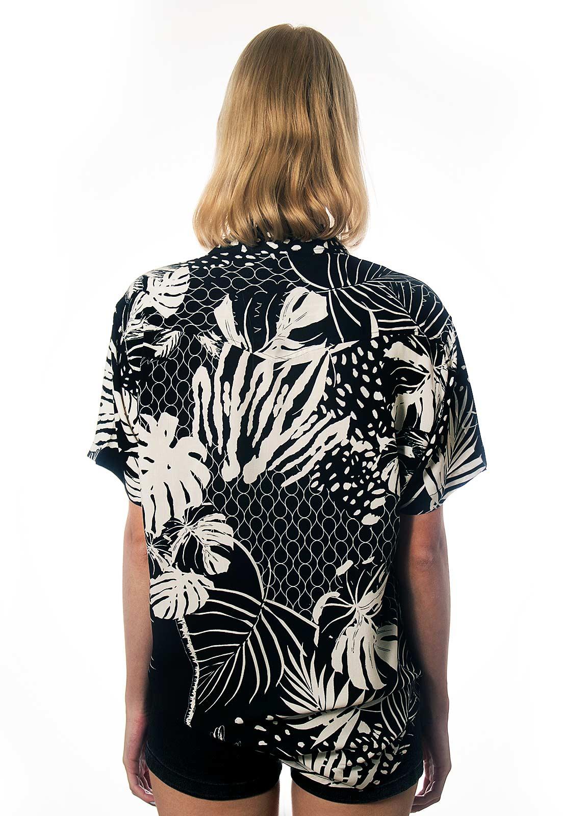 Camisa Folhagens Estampada Recife Mar ElephunK Preta