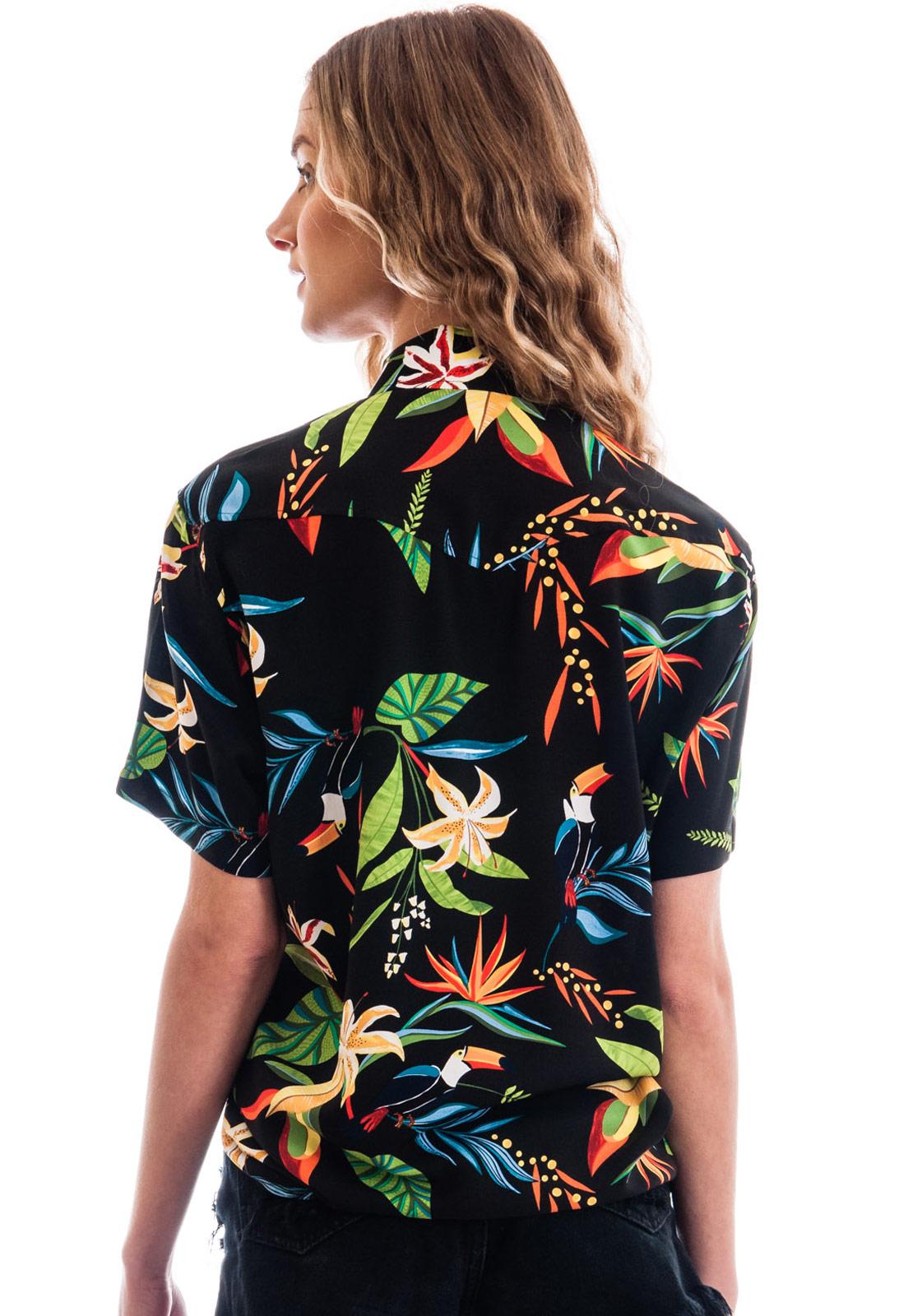 Camisa Folhagens Estampada Tucanos Vitória Birds ElephunK Preta