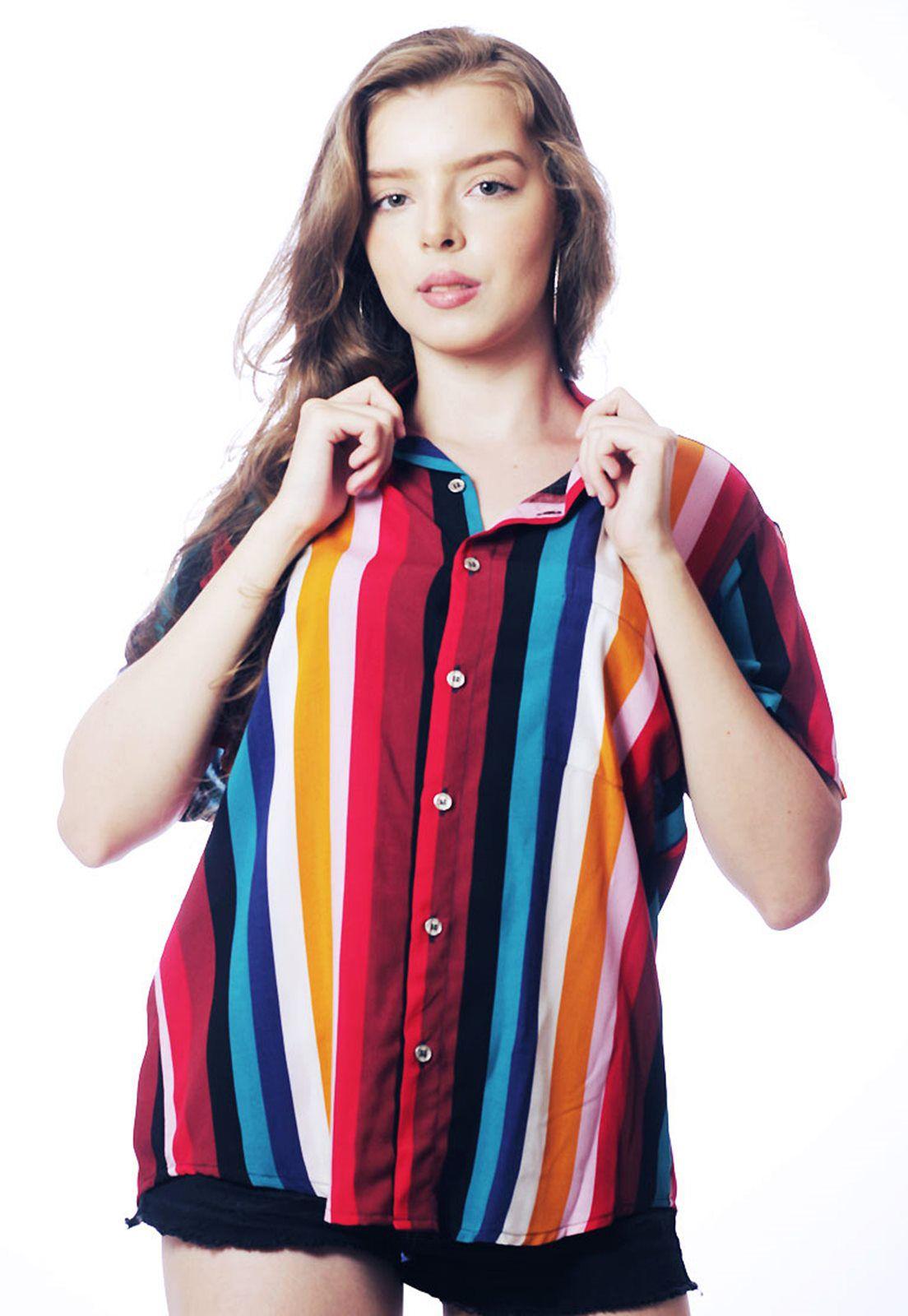 Camisa Listrada ElephunK Unissex Stripz Fairy Vermelha