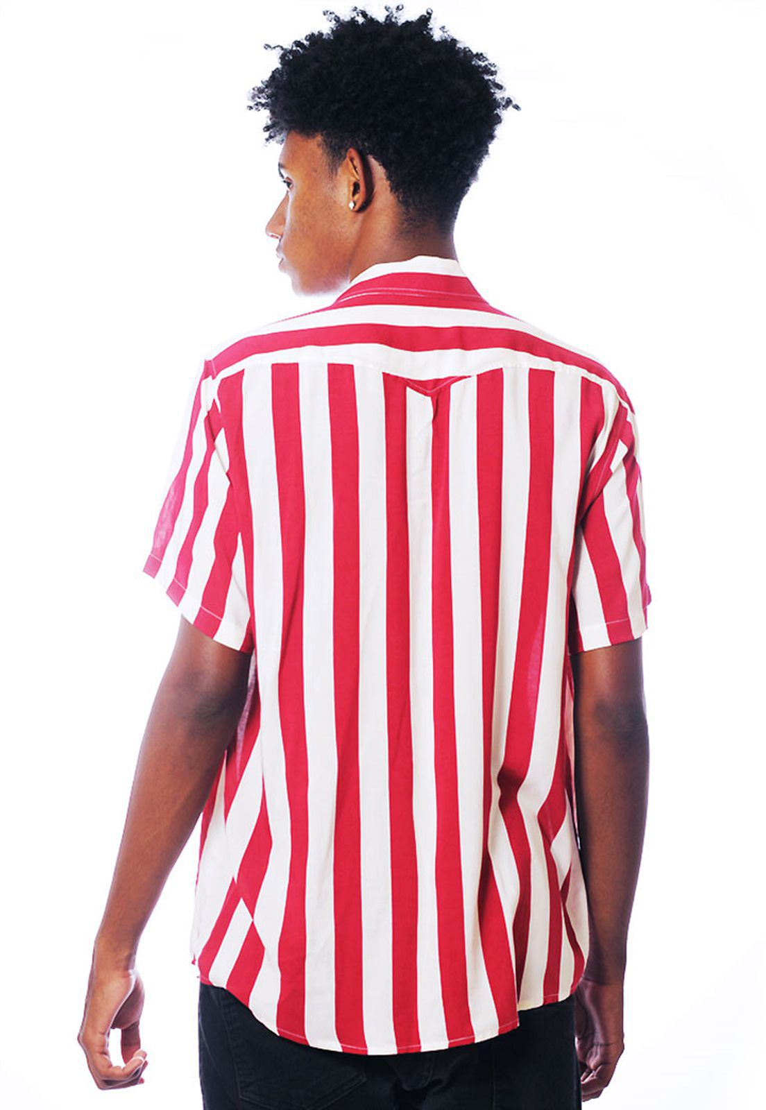 Camisa Listrada ElephunK Unissex Stripz Strawberry Vermelha