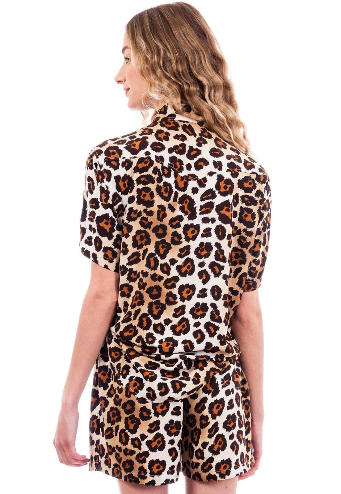 Camisa Oncinha Animal Print Estampada ElephunK Onça Clássica Marrom