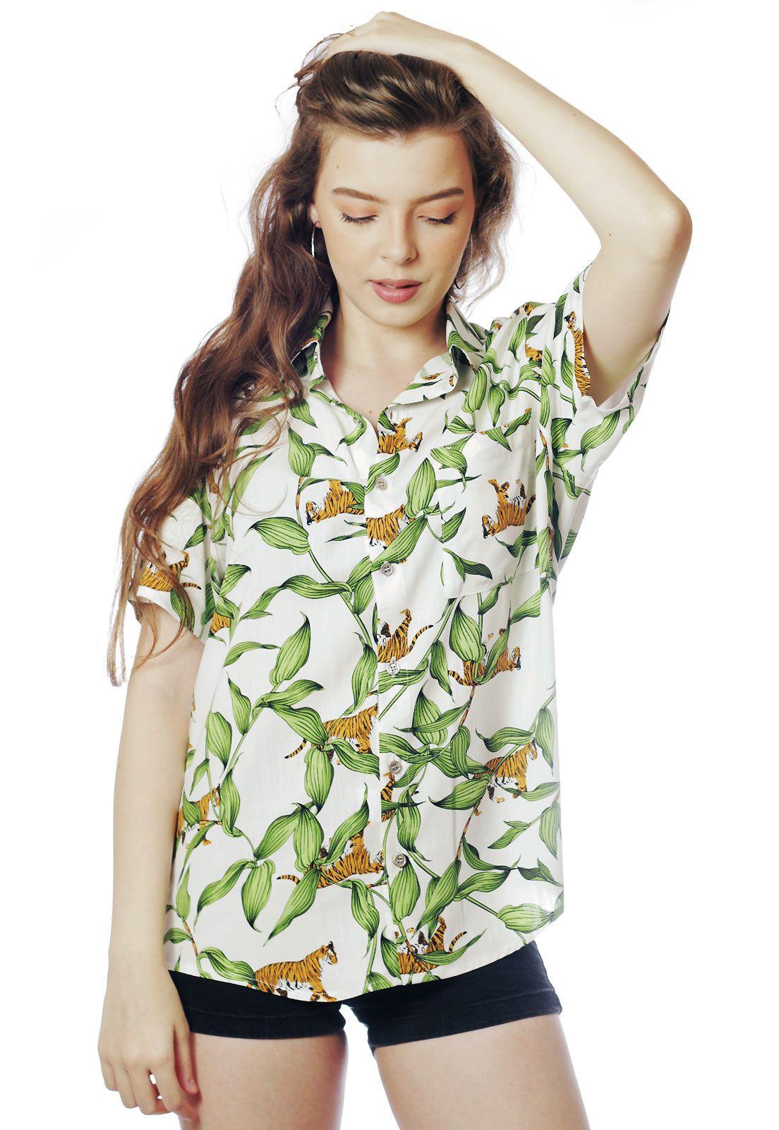 Camisa Tropical Estampada ElephunK Tigresa Branca