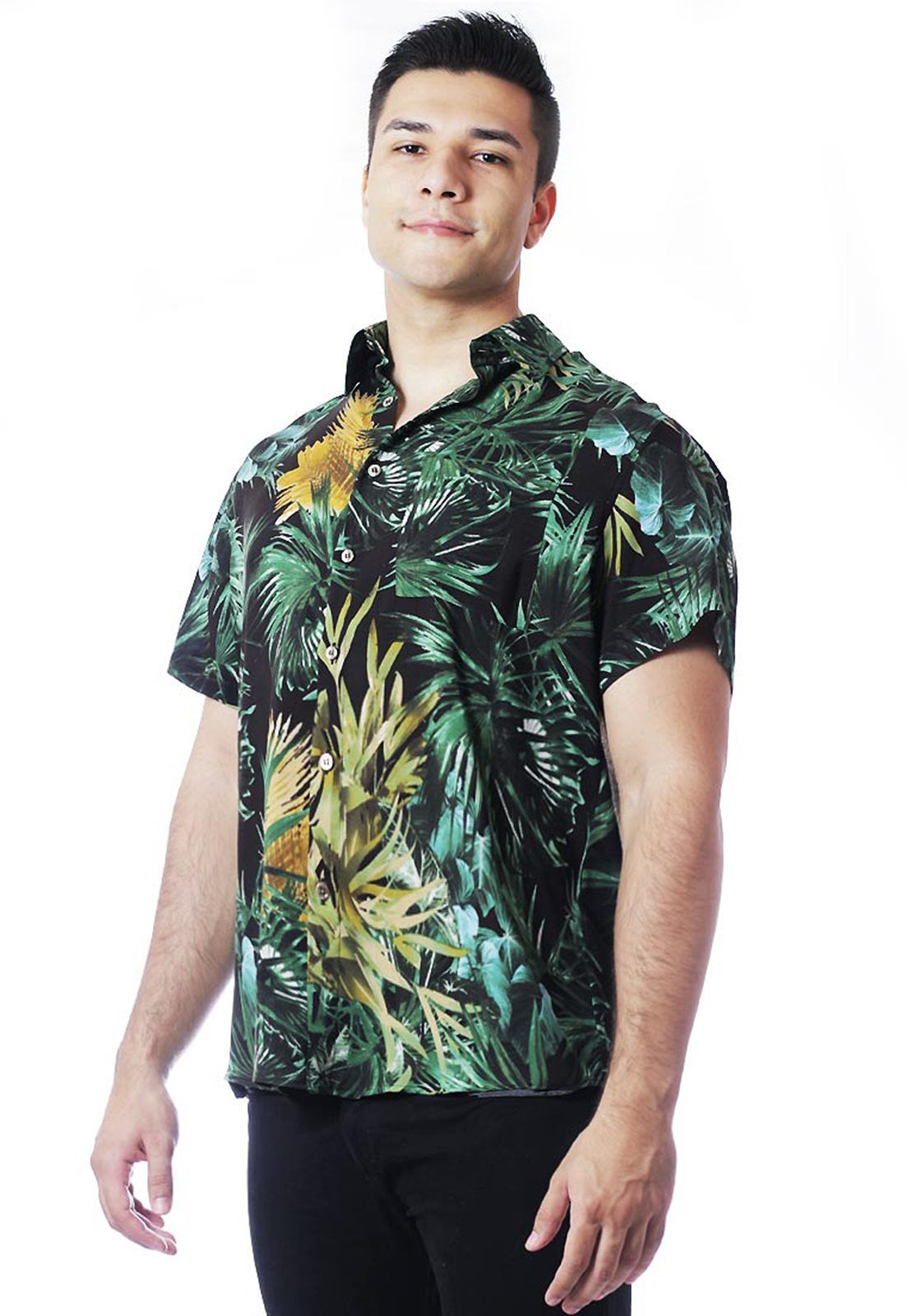 Camisa Tropical Estampada ElephunK Unissex Safari Verde