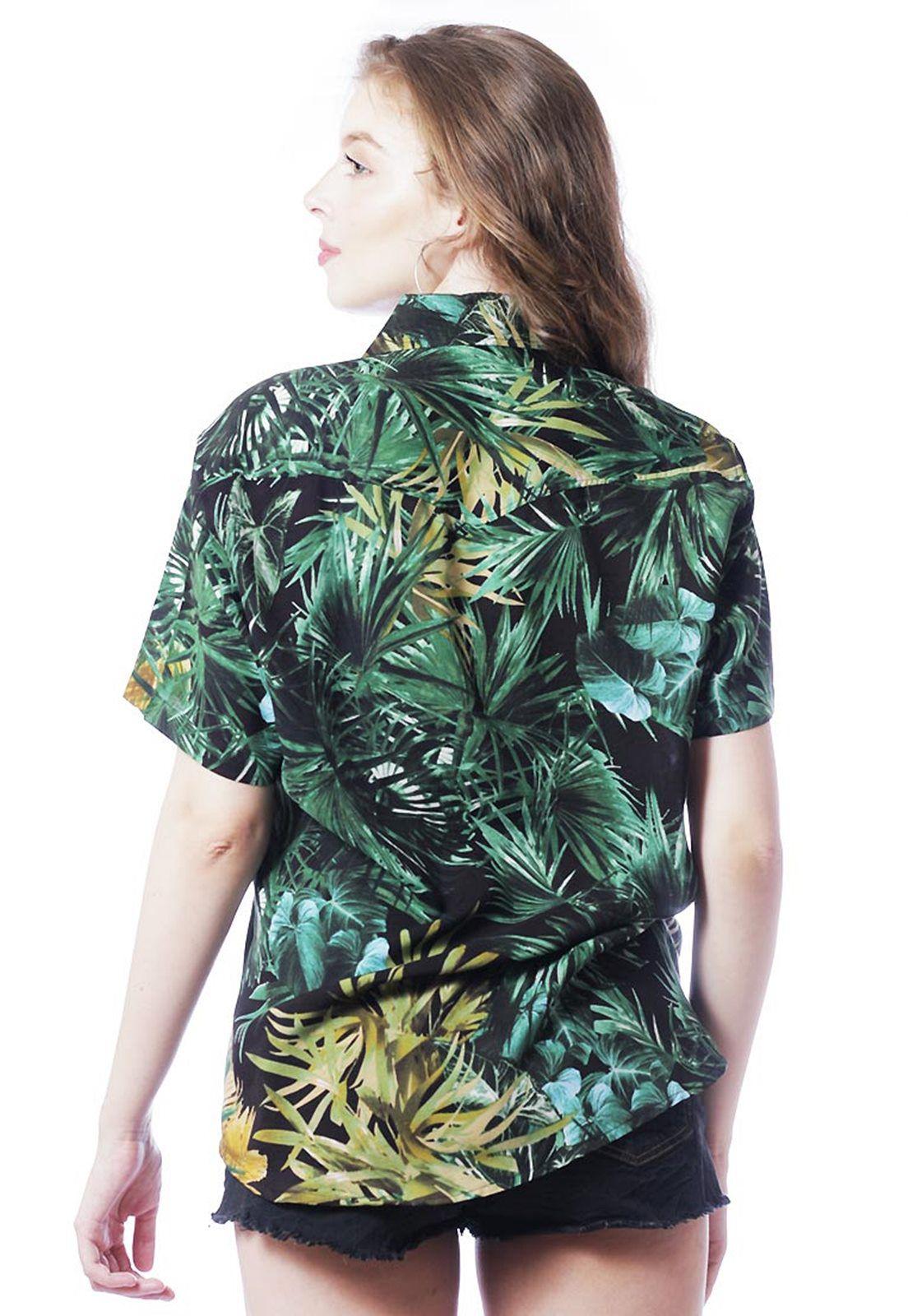 Camisa Tropical Estampada ElephunK Unissex Safari Verde