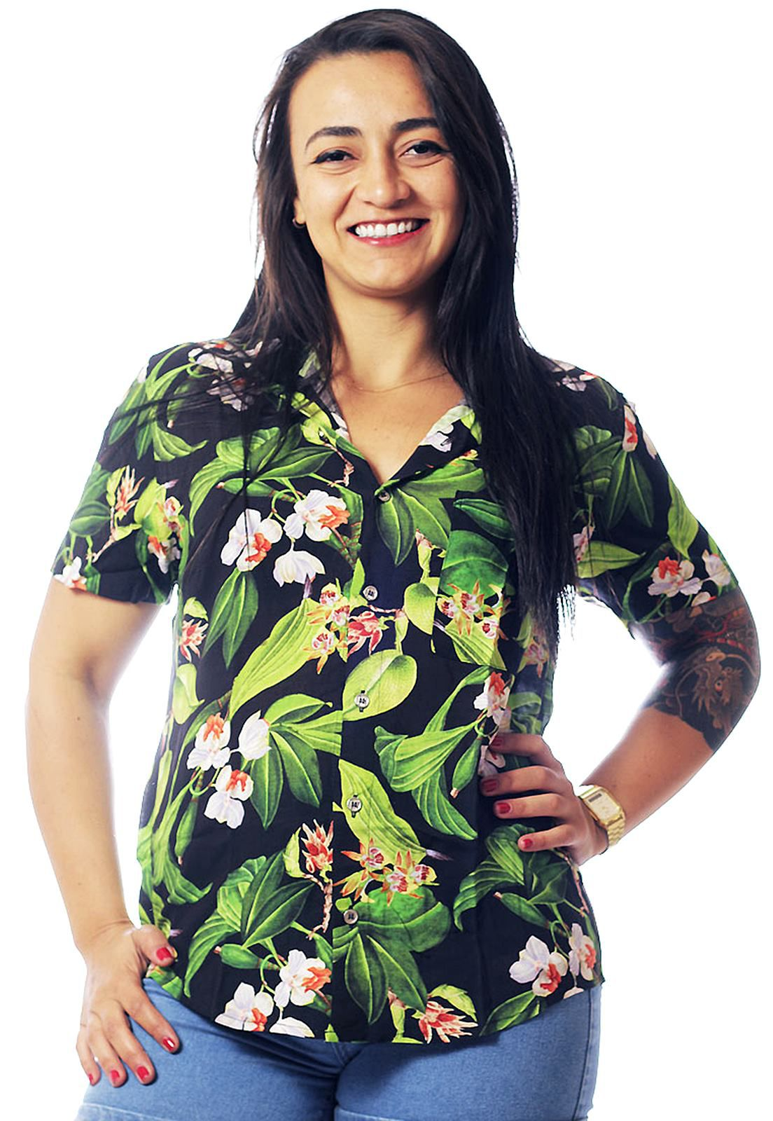 CAMISA TROPICAL ESTAMPADA UNISSEX BARBOSA
